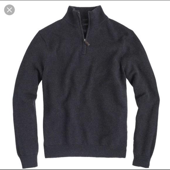 J. Crew Other - EUC J. Crew Cotton Cashmere 1/2 Zip Sweater DG L